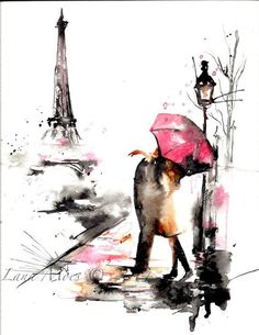 Paris in Rain Watercolor Original Illustration - Travel Paris Red Umbrella Watercolor Painting
