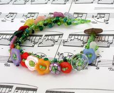 Beaded, button embellished bracelet