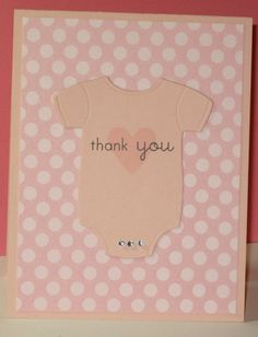 Baby Thank You Cards  Onesie  Baby Girl Thank by GlitterInkCards, $17.50