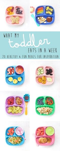 What My Toddler Eats in a Week. 20 healthy and fun meals to get ideas for your own little one. Also included are links to recipes, advice on how to deal with picky eaters and my tried-and-true methods on how to make healthy meals without losing your mind! Healthy Toddler Meals, Toddler Snacks, Healthy Kids, Kids Meals, Eat Healthy, Healthy Meals For Children, Healthy Toddler Lunches, Baby Snacks, Baby Foods