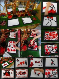Transient Art with Red & Black Loose Parts (from Stimulating Learning with Rachel) Panda Activities, Eyfs Activities, Spring Activities, What The Ladybird Heard Activities, Minibeasts Eyfs, Holiday Club, Small World Play, Bird Crafts, Math For Kids