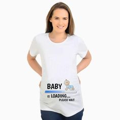 745d60fa9 Summer Designer Funny T shirts Pregnant Maternity BABY NOW LOADING T-Shirt  Women Letter Print Casual Cotton Tshirt
