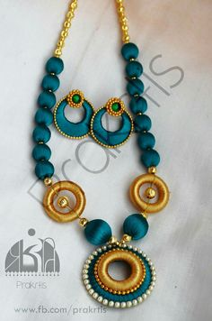Blue slik jumka mix with gold Silk Thread Earrings Designs, Silk Thread Bangles Design, Silk Thread Necklace, Silk Bangles, Thread Jewellery, Fabric Jewelry, Necklace Designs, Beaded Jewelry, Silk Thread Jumkas