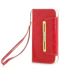 iPhone 5.8 Inch Protective Case ten ,elecfan Stylish Fashion Candy Case Cover Women Girls Lady Handbag Clutch Wallet Case with Card Holder for 5.8 Inch iPhone X iPhone 10 - Red