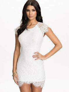 Eyelash Lace Dress - Nly One - White - Party Dresses - Clothing - Women - Nelly.com