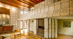 Frank Lloyd Wright Millard House concrete block interior living wooded ceiling | Interior Design Ideas.