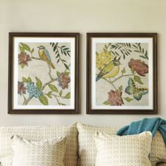 Antique Aviary Gicl Prints | Ballard Designs..so that I can incorporate my Aqua obsession into the GOLD I have.