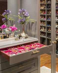 Marks and Frantz Interior Design | Jewelry storage in gray closet
