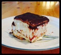 Chocolate Eclair Cake  1 package vanilla pudding - 3 oz 1 package banana pudding - 3 oz 1 container Cool Whip ( 1L - you'll use about 3/4 of it ) 2 3/4 cups of milk Graham Crackers ( about 20 ) Chocolate Icing 8x8 Baking dish Open both boxes of pudding, 3/4 container of cool whip and milk into a bowl and mix together well. Set aside.  Place one layer of Graham Crackers on bottom of baking dish. Top these crackers with 1/2 of your pudding mixture spreading evenly.  Place another layer of ...