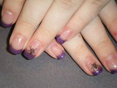 Purple glitter tips with Stamp art