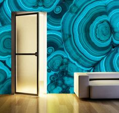 Blue malachite wallpaper by Brenda Houston for Black Crow Studios
