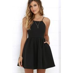 Chic Freely Black Backless Skater Dress ($56) ❤ liked on Polyvore featuring dresses, shirred dress, black dress, black skater dress, ruching dress and black ruched dress