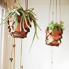 Leather plant hanger with detailed tassels by Make Smith Leather Co.