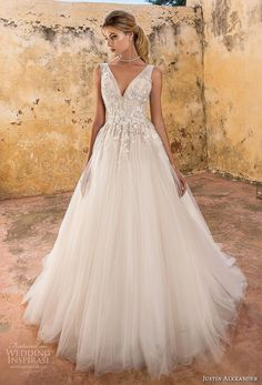 justin alexander spring 2019 bridal sleeveless v neck heavily embellished bodice. , justin alexander spring 2019 bridal sleeveless v neck heavily embellished bodice. Luxury Wedding Dress, Dream Wedding Dresses, Wedding Gowns, Wedding Book, Tulle Ball Gown, Ball Gowns, Tulle Tutu, Justin Alexander Bridal, Wedding Gown Gallery
