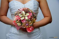 Brooch bouquet... I am making one of these for my wedding (not pink though)