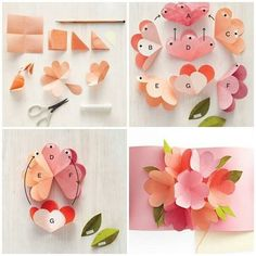 Origami Christmas Tree Mother's Day Diy Diy Birthday Birthday Cards Adult Crafts Crafts For Kids Mothers Day Cards Craft Gifts Diy Gifts Eid Crafts, Cute Crafts, Diy And Crafts, Paper Crafts, Crafts For Kids, Pop Up Flower Cards, Pop Up Flowers, Pop Up Cards, Paper Flower Wreaths