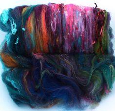 Garden compost - Art Batt 2.8 oz merino wool etc  by hobbledehoy