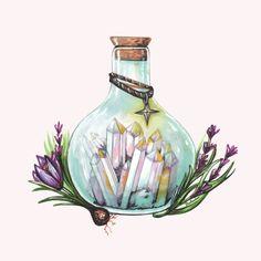 Magic Potion Art Print by Pendientera - X-Small Garter Tattoos, Rosary Tattoos, Crown Tattoos, Bracelet Tattoos, Heart Tattoos, Skull Tattoos, Sleeve Tattoos, Sketch Inspiration, Painting Inspiration