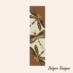 Coffee and Cream Dragonflies Peyote Cuff Pattern