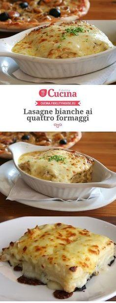 Lasagne bianche ai quattro formaggi Italian Dishes, Italian Recipes, Italian Pasta, Pasta Recipes, Cooking Recipes, Italy Food, Ravioli, Different Recipes, Crepes