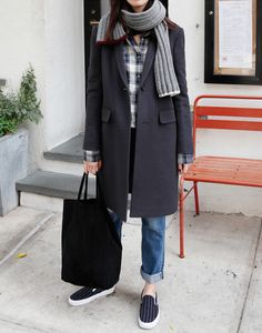 Korean Street Style Snap - Striped Shirt Long Navy Coat