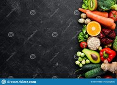 Organic Food On A Black Stone Background. Vegetables And Fruits. Stock Image - Image of cooking, vegetarian: 151177983