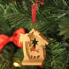 Hand Carved Olive Wood 3D Creche Nativity Scene Ornament