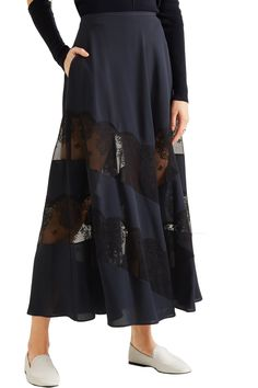 Lace-paneled silk maxi skirt | STELLA McCARTNEY | Sale up to 70% off | THE OUTNET