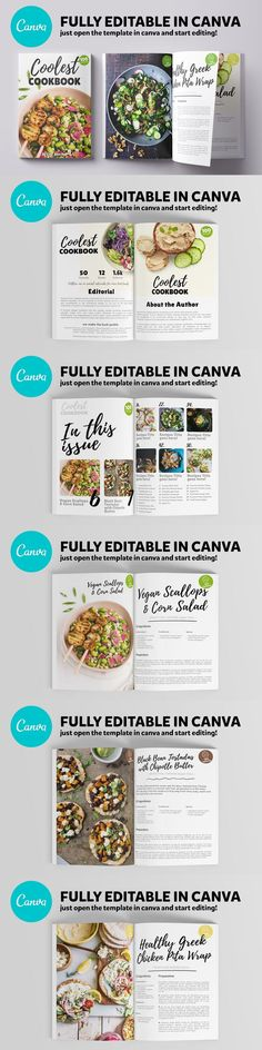 Canva Recipes Cookbook Template / 24 Pages. File Size: 3.68 MB. DPI: 300. Layered. Tileable. Cookbook Template, Page Template, Templates, Page Table, Editorial Page, Table Of Contents Page, Sample Recipe, Content Page