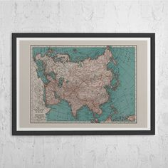 Nicolaes Visscher   Map of Asia Minor   historical maps   Pinterest     VINTAGE ASIA MAP   Vintage Map of Asia   Old Map Print  Vintage Wall Art
