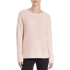 Lord & Taylor Knit Crewneck Sweater ($16) ❤ liked on Polyvore featuring tops, sweaters, sweetheart, crewneck sweaters, pink pullover, long sleeve knit sweater, crew sweater and pink crew neck sweater