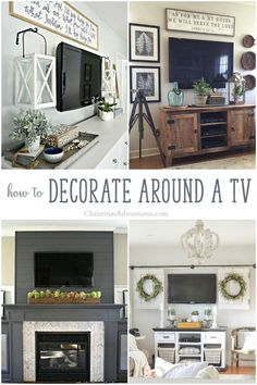Genius ideas for how to decorate around a TV – lots of ideas for different dec. Genius ideas for how to decorate around a TV – lots of ideas for different decor styles! You don't need a big budget to camouflage a television, just some smart planning! Decor Around Tv, Home Decor Styles, Farm House Living Room, Wall Decor Living Room, Living Room Remodel, Home Remodeling, Home Decor, Room Remodeling, Rustic House
