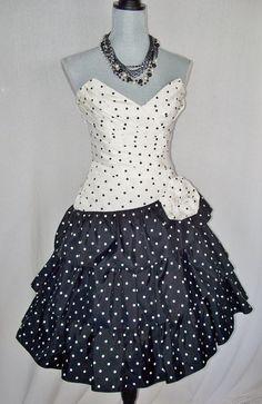 Vintage Black & White Polka Dot 80s Dress by by FannyChanel, $89.97