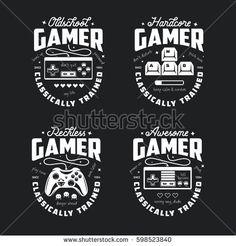 Retro video games related t-shirt design. Monochrome joyst… Retro video games related t-shirt design. Video Game Logos, Video Game T Shirts, Retro Videos, Retro Video Games, Pixel Video, Festa Jack Daniels, Comic Collage, Gamer Quotes, Retro Game