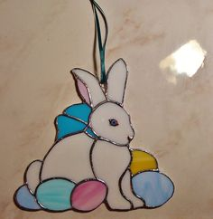 Stained glass Bunny piece~~a gift!!  My fav. piece for Easter!!  :) ♥♥♥