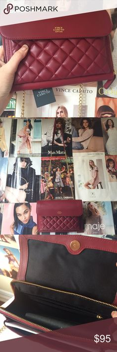 vince camuto + ronan leather crossbody One of the classiest, chic crossbody bags I've ever seen. This Vince Camuto Ronan leather bag in red takes the style right off college campuses and puts it in the grown up fashionable world!! Gold chain strap with leather top, quilted front, dust bag included. NWT. Vince Camuto Bags Crossbody Bags
