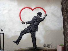 Happy Valentine's Day.Street art by Nick Walker .Paris.