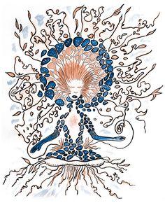 Goddess in creation / Femme méditation dessin par AnneCecileArt
