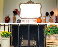 Jennifer Lutz's Fall Decorating Ideas for Your Mantel: Decorate in the warm colors of the season.