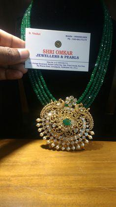 Emerald beads necklace designs with lakshmi pendnat , ganesh pendant multi layered emerald long chain designs Pearl Necklace Designs, Jewelry Design Earrings, Gold Jewellery Design, Emerald Jewelry, Bead Jewellery, Gold Jewelry, Handmade Jewellery, Jewellery Exhibition, Beaded Jewelry Designs