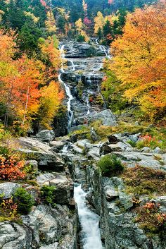 Silver Cascade, Crawford Notch, New Hampshire; photo by .Larry