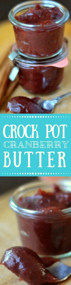Crock Pot Cranberry Butter is an impossibly silky tangy fruit butter that is made right in the crock pot you'll want to slather it on toast scones biscuits muffins turkey sandwiches and so much more! Cranberry Jam, Cranberry Recipes, Holiday Recipes, Jam Recipes, Canning Recipes, Fruit Recipes, Recipies, Slow Cooker Recipes, Crockpot Recipes