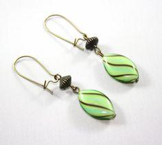 Mint Green Lampwork Bead Earrings Mint Green by thejewelstreet, $17.00
