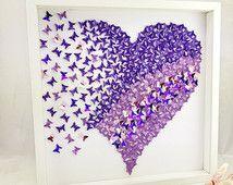 Coeur de papillon 3D | papillon sticker | Papier 3D papillons mur art filles chambre personnaliser cadeau de |wedding enfants cadeaux idées