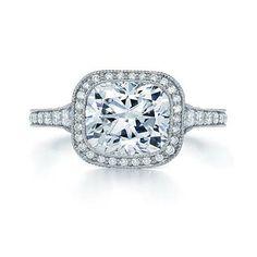 Kwiat Cushion Diamond Ring With a Milgrain Halo   B-BRIGHTER.COM