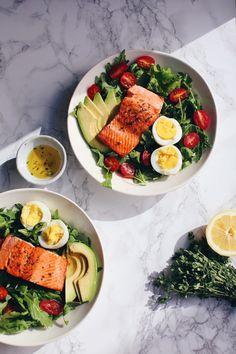 Salmon Salad with Avocado, Eggs & Lemon Thyme Dressing