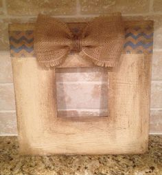Items similar to Custom Distressed picture frame with burlap bow on Etsy Distressed Picture Frames, Picture Frame Decor, Burlap Lace, Burlap Bows, Framed Burlap, Cute Frames, Burlap Crafts, Crafty Craft, Diy Frame