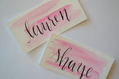 Wedding Calligraphy Place Card; Calligraphy Escort Card; Wedding Place Card; Watercolor Wedding Place
