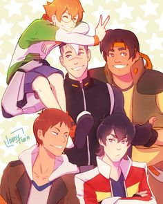 Pidge, Shiro, Hunk, Lance and Keith the Future Paladins of Voltron from Voltron Legendary Defender