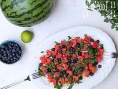 Wassermelonen Heidelbeeren (Blaubeeren) Sommer Salat - vegan - Freude am Kochen